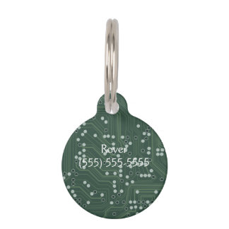 Green Circuit Board Background Pattern Art Pet ID Tag