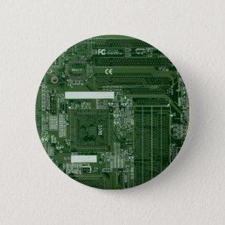 Green circuit board badge pinback button