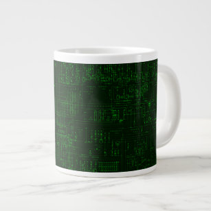 Green Circuit Board Blueprint Design Giant Coffee Mug