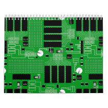 Green circuit board calendar