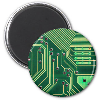 Green Circuit Board - Electronic Print 2 Inch Round Magnet