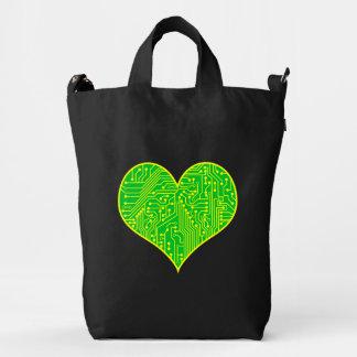 Green Circuit Board Geek Love Heart Duck Bag