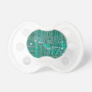 Green circuit board high-tech looking pacifier