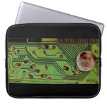 Green Circuit Board Moonscape Laptop Sleeve