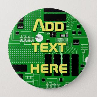 Green circuit board pinback button