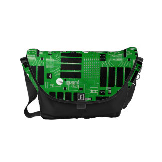 Green circuit board small messenger bag
