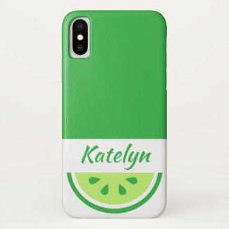 Green Citrus Fruit Lime Personalized iPhone XS Case