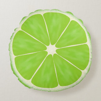 Green Citrus Lime Fruit Slice Round Pillow