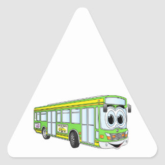 Green City Bus Cartoon Triangle Sticker