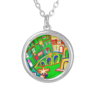 green city silver plated necklace