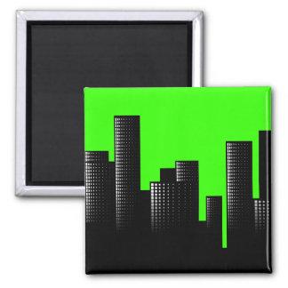 green cityscape magnet
