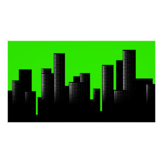 green cityscape poster