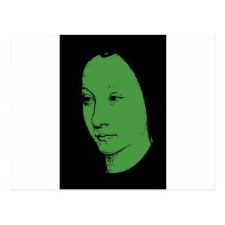 Green Classic Art Face Postcard