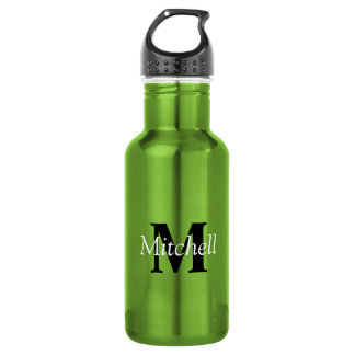 Green Classic Black Monogram Name Personalized Stainless Steel Water Bottle