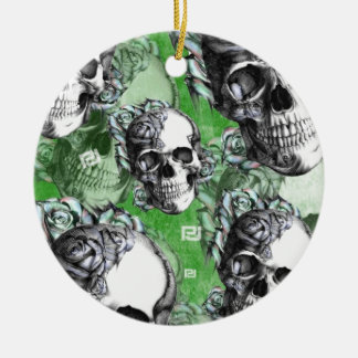 Green classic skull and roses products. PJ. Ceramic Ornament