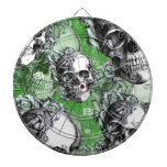 Green classic skull and roses products. PJ. Dartboard With Darts