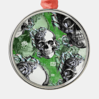 Green classic skull and roses products. PJ. Metal Ornament