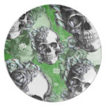 Green classic skull and roses products. PJ. Party Plate