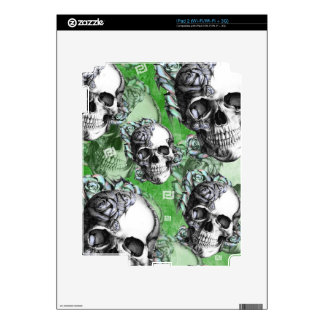 Green classic skull and roses products. PJ. Decals For iPad 2