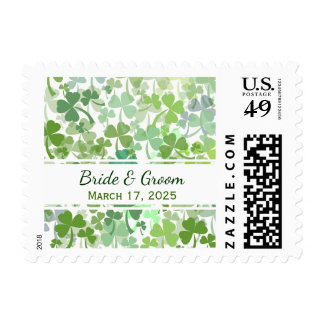 Green Clover Al Over Wedding Postage