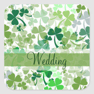 Green Clover All Over Pink Wedding Stickers