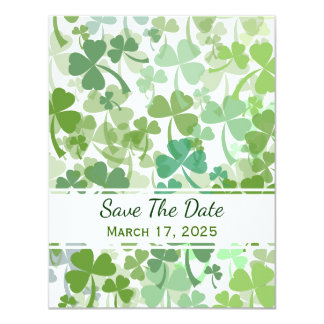Green Clover All Over Save The Date Cards