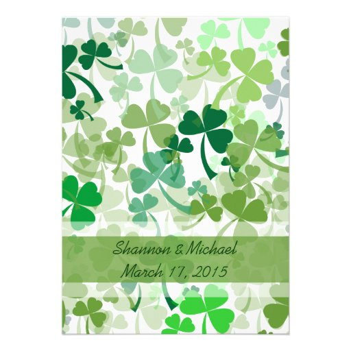 Green Clover All Over Wedding Invitations
