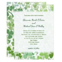 Green Clover All Over Wedding Invitations
