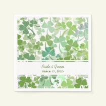 Green Clover All Over Wedding Paper Napkins