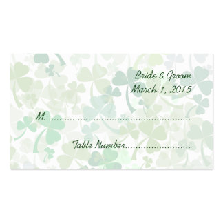 Green Clover All Over Wedding Place Cards Double-Sided Standard Business Cards (Pack Of 100)