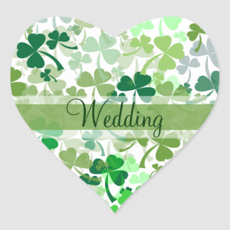 Green Clover All Over Wedding Stickers