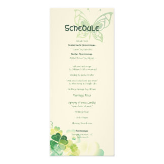 Green Clover and Butterfly Corners Schedule Card