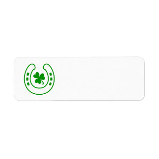 Green clover and horseshoe lucky St Patrick's day Label