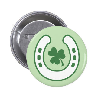 Green clover and horseshoe lucky St Patrick's day Pinback Button