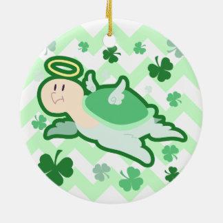 Green Clover Angel Turlte Ceramic Ornament