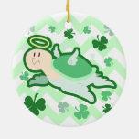 Green Clover Angel Turlte Christmas Tree Ornament
