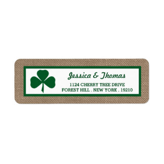 Green Clover & Burlap St. Patrick's Day Label