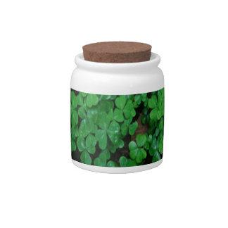 Green Clover Candy Jar