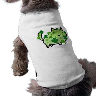 Green Clover Cat Doggie Ribbed Tanktop Doggie Tshirt