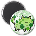 Green Clover Cat Fridge Magnet