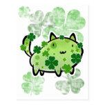 Green Clover Cat Postcard