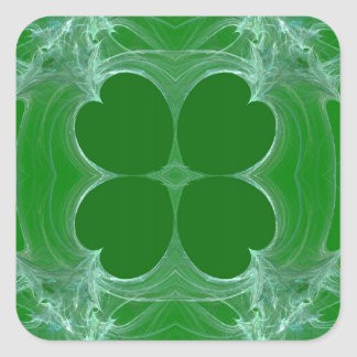 Green Clover Fractal Background Square Sticker