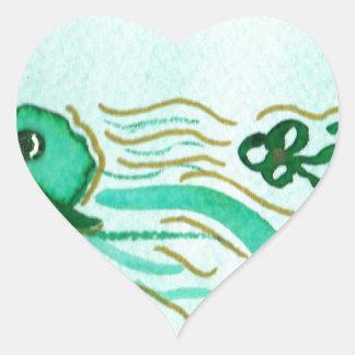 Green Clover Hats for St. Pat's Heart Sticker