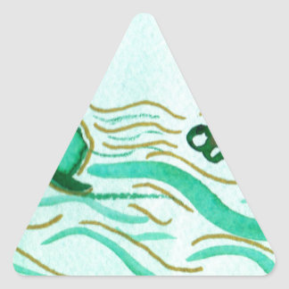 Green Clover Hats for St. Pat's Triangle Sticker