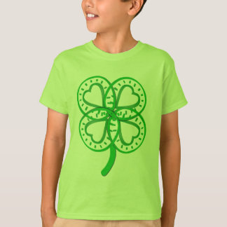 Green Clover Heart Front Back St Patty Kids Tee