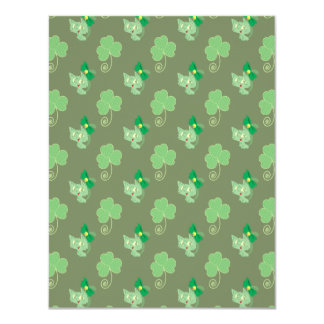 Green Clover Kitty Pattern Card