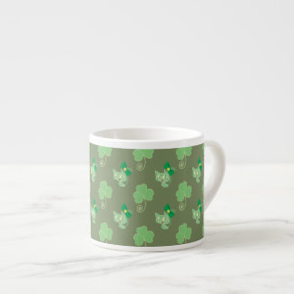 Green Clover Kitty Pattern Espresso Cup