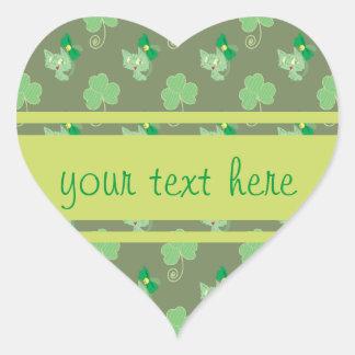 Green Clover Kitty Pattern Sticker