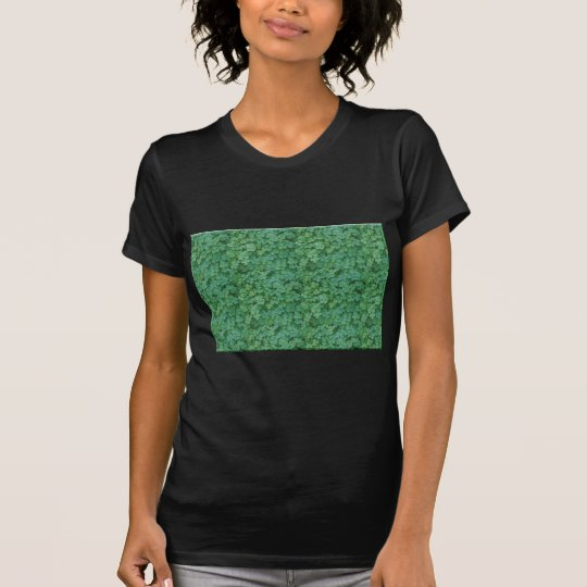 Green Clover Leafs Floral Pattern T-Shirt