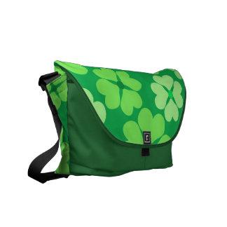 Green clover messenger bags